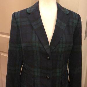 NWT Talbots navy/green tartan plaid blazer